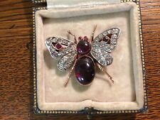 ANTIQUE VICTORIAN 9CT ROSE GOLD, DIAMONDS & GARNETS BEE BROOCH.STUNNING! RARE!