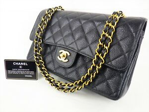 Details About 100 Auth Chanel Flap Bag Chain 2 55 Caviar Black Gold Vintage Medium Quilted 25