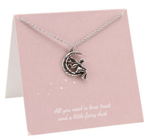 Girls childrens fairy pendant necklace fashion pewter love gift card la imagen se est cargando collar colgante de hadas ninas ninos moda amor aloadofball