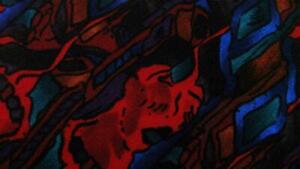 J.GARCIA LADY WITH ELABORATE HEADRESS RED BLUE SILK NECKTIE TIE MFE1420B #B09