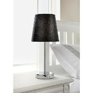 Amical Paillettes Noir Lampe De Table Chrome Support Argent Sparkle Collection Métallique-afficher Le Titre D'origine