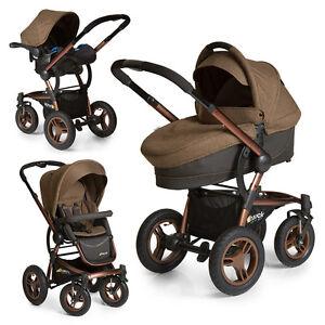 hauck kombi kinderwagen set 3in1 king air plus trio mit luftreifen chocolate ebay. Black Bedroom Furniture Sets. Home Design Ideas