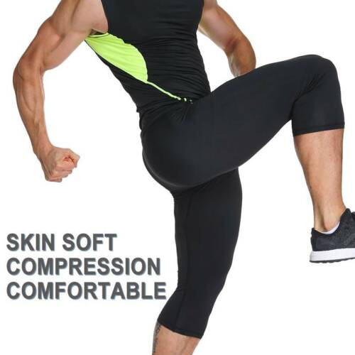 Mens 3//4 Compression Pants Base Layer Fit Trousers Basketball Soccer Tights C81