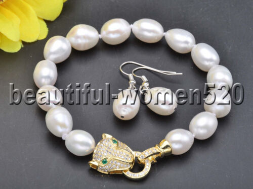 X0478 SET 13 mm Riz Eau Douce Collier De Perles /& Bracelet CZ Panther