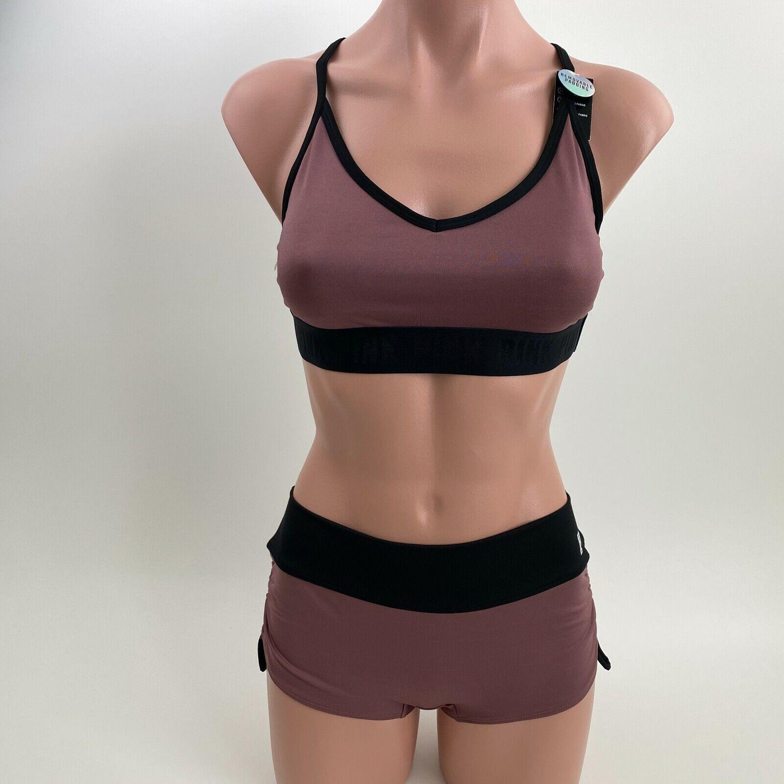 Victoria's Secret PINK Ultimate Lightly Lined Sport Bra & Shortie Brown Set M