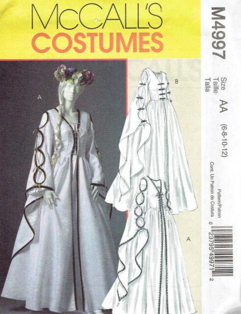 McCalls 4997 Misses Renaissance Medieval Dress Gown Pattern Sz 6-12 Uncut