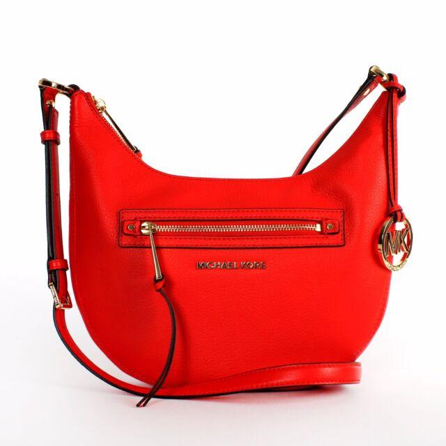 80186f571dca Michael Kors Rhea Zip Small Messenger Leather Mandarin ...