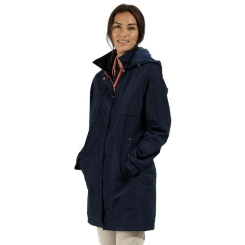 REGATTA LADIES GRACELYNN LONG LENGTH WATERPROOF LIGHTWEIGHT JACKET BLUE RWW290