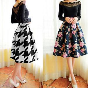 Women-Stretch-High-Waist-Plain-Skater-Flared-Pleated-Swing-Long-Midi-Skirt-Dress