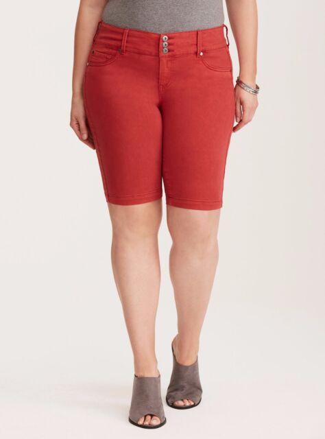 0214f7d8a06 Torrid Jegging Bermuda Shorts Red Wash 10  40563