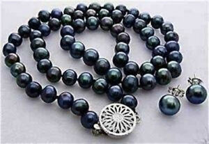 Rare-7-8MM-Black-Akoya-Cultured-Pearl-Necklace-Earring
