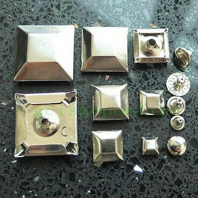 25 Leather Silver Faceted Square Rapid Rivets Stud 25mm 19mm 15mm 12mm 10mm 7mm