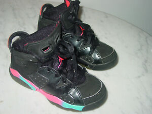 on sale 6fd6f 94104 Details about 2012 Nike Air Jordan Retro 6 Black/Pink Flash/Marina Blue  Toddler Shoes Size 11C