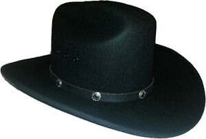 New-Made-in-USA-Black-100-Wool-Felt-Lined-Cowboy-Hat-Western-Size-7