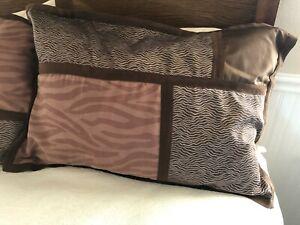 Pair King Brown Geometric Animal Print Pillow Covers Shams Sz 20 in x 36 in