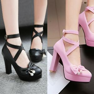 Womens-Fashion-Ankle-Straps-Bow-Tie-High-Heel-Pumps-Shoes-AU-Size-2-5-10-C348