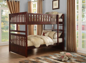 Details about DARK CHERRY FULL OVER FULL BUNK BED YOUTH BEDROOM FURNITURE  SET