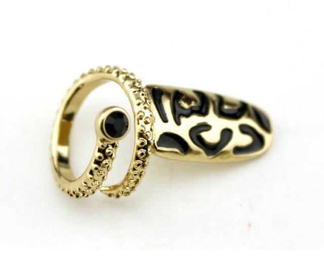 Adjustable 1Pc Rock Fake Nail Nail Art Finger Ring Gold Metal Ring For Women