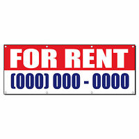 For Rent Custom Number Promotion Business Sign Banner 4' X 2' W/ 4 Grommets