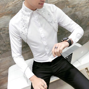dd92087eba7 Men Gothic Steampunk Shirt Silk Satin Sequin Modern Formal Work Long ...