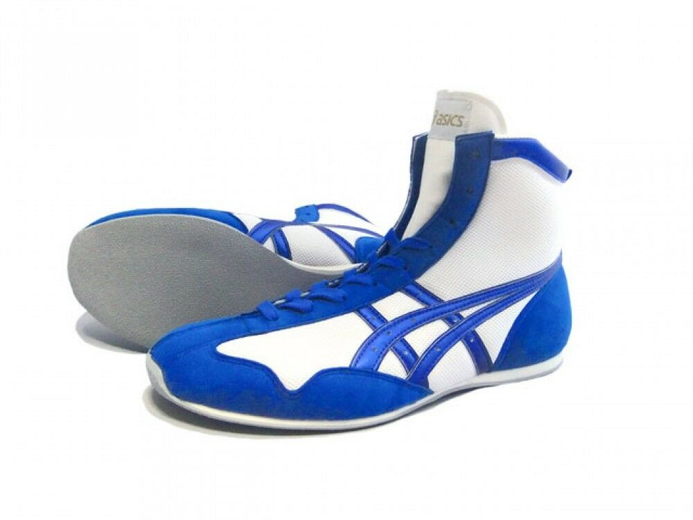 Asics Boxing shoes  Short type Original color White X marine blueee