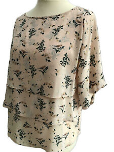 New-3-tier-Top-Ditsy-Floral-detail-Beige-Flair-Sleeves-UK-Size-10-12-14-16-18-20