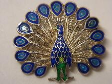 Jugendstil Brosche Brooch Emaille Pfau Vogel Bird Silber Silberbrosche  Nr.138