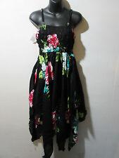 Dress Fits L XL 1X Black Pink Teal Sundress Smocked Chest Pixie Hem NWT 349 J