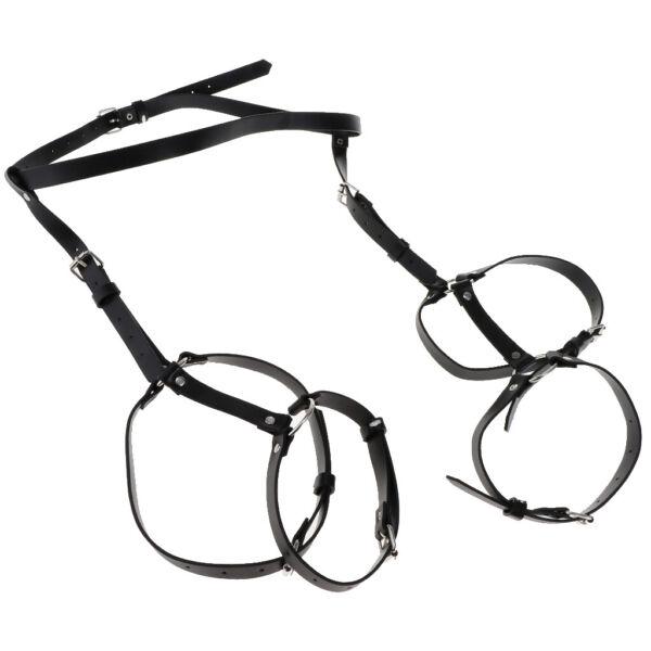 MagiDeal Sexy Punk Leather Harness Strumpfgürtel Taille Bein Ring