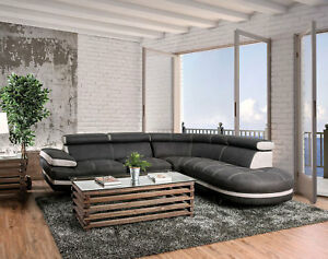 Details about NEW PROVO Contemporary Living Room Furniture Gray Microfiber  Sofa Sectional Set