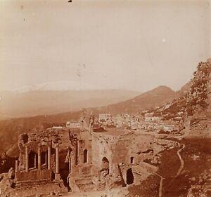 ITALIE-Sicile-Taormine-Theatre-Grec-Photo-Stereo-Vintage-Plaque-Verre-VR2L1n8