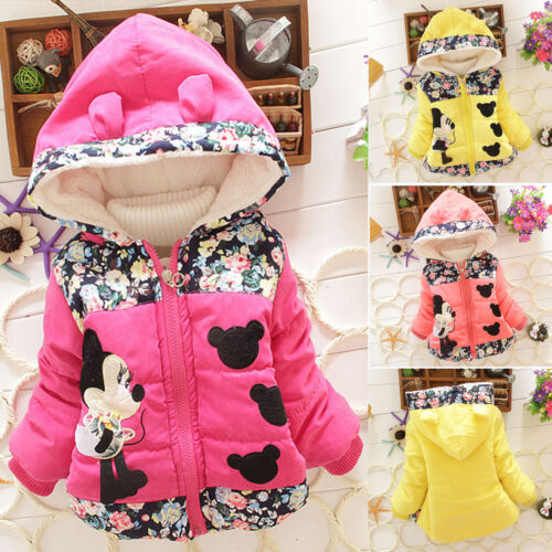 Kids Baby Girl Cartoon Minnie Mouse Hooded Jacket Coat Zip Winter Warm Snowsuits