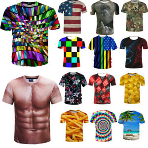 3D-Funny-Printed-Men-039-s-T-Shirt-Hot-Crew-Neck-Short-Sleeve-Casual-Graphic-Top-Tee