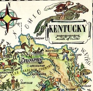 Details about 1940s Antique Animated KENTUCKY State Map Vintage Map of  Kentucky 5438