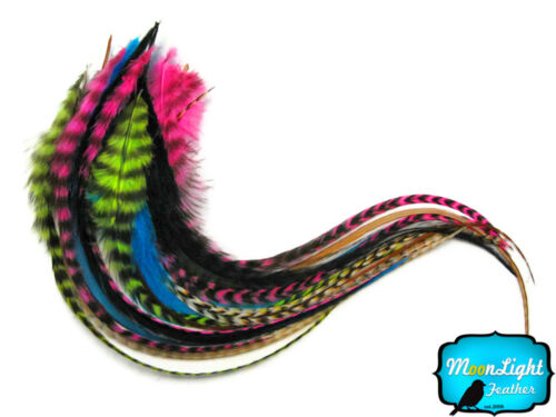 10 Pieces RAINBOW COMBO MIX Long Rooster Hair Extension Feathers