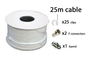 25m-White-RG6-Satellite-freeview-Digital-TV-Sky-HD-Aerial-Coax-Cable-Coaxial