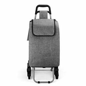 Cosaving Carrito de la compra plegable con 3 ruedas gris