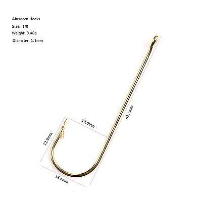 50PCS Thorn Long Shank Aberdeen Fishing Hook Big size 5//0 6//0 Gold