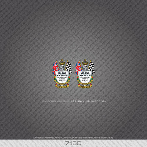 07160 Major Nichols Bicycle Head badges Autocollants-Decals-Transfers