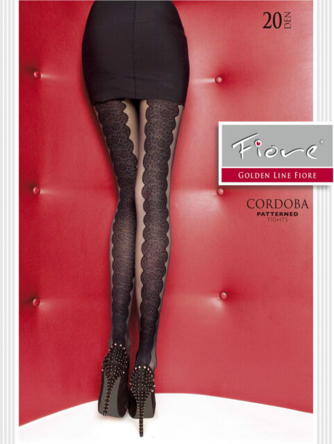 Fiore Cordoba Lace Panel Effect Back  Patterned Tights 20 Denier 1 pair