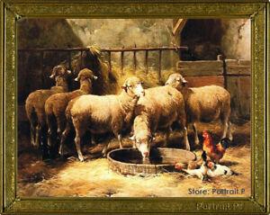 Old Master Art Portrait Animal Sheep Chicken Farm Oil Painting Unframed 30x40in