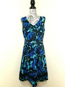 JACQUI E Black Blue Green Floral Size 12 Fit & Flare Pleated Lined Party Dress
