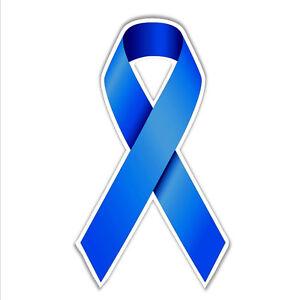 Colon Bowel Cancer Awareness Support Blue Ribbon Car Bumper Sticker 82 X 136 Ebay