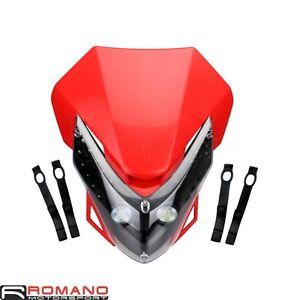 LED Headlight Fairing For Enduro Cross Dual Sport CRF Dirt Bike Motorcycle Red