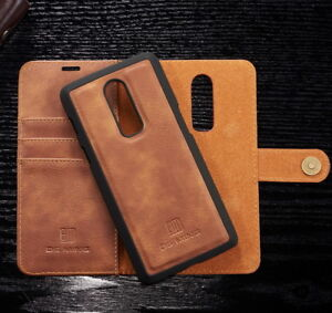 reputable site ba50c 768b8 Details about For OnePlus 6 Luxury Genuine Leather Removable Wallet Flip  Card Phone Case Cover