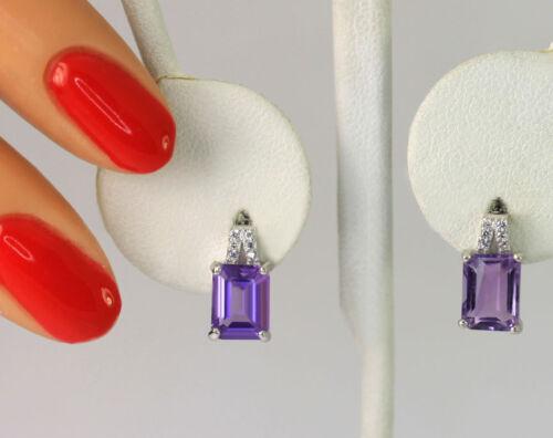 Sterling Silver Genuine Amethyst Lab Created White Sapphire Drop Earrings
