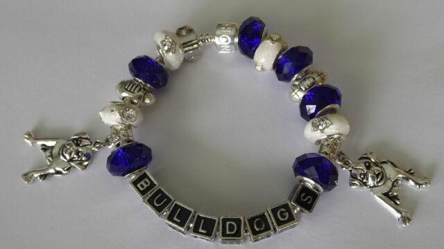 NRL Canterbury BULLDOGS SP European Footy Charm Bracelet 20cm bday Xmas gift