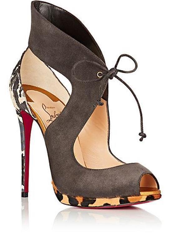 Christian Louboutin CAMPANINA Pony Snake Tie Platform Heels Sandals shoes  1295