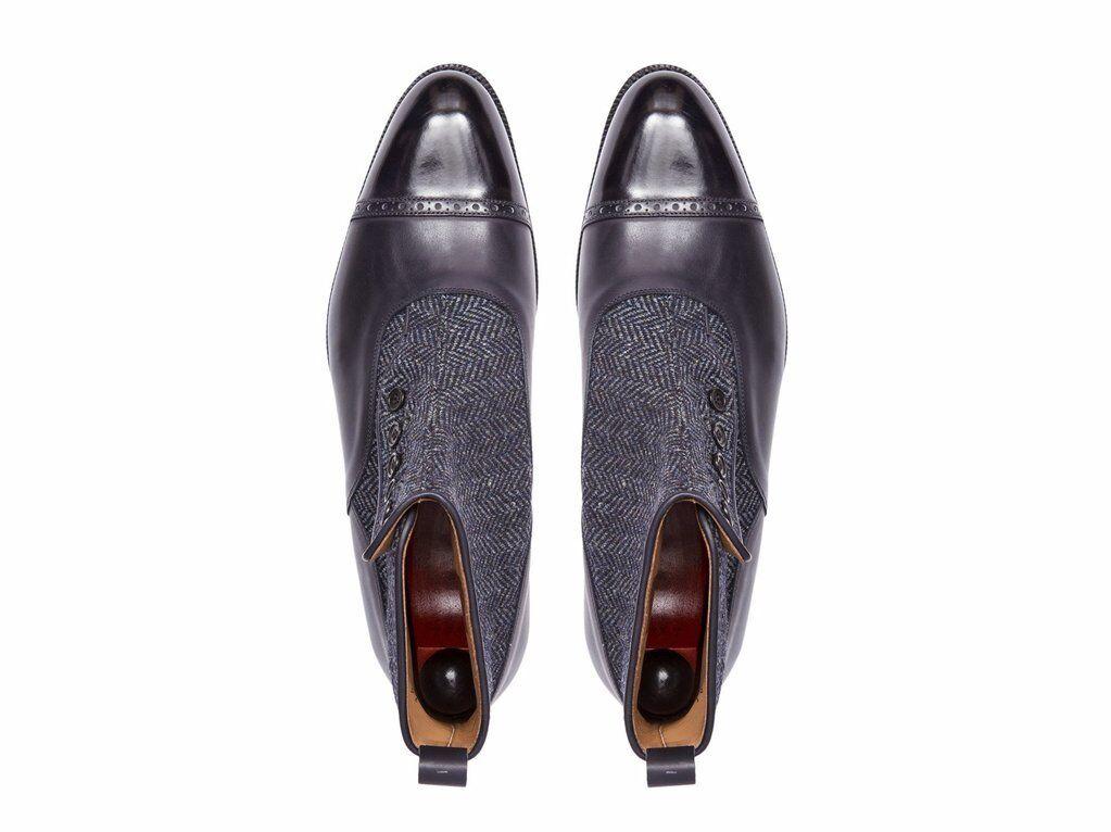 Zapatos De Cuero De hombre hecho a mano tobillo tobillo mano Botas de Cuero Genuino & Gamuza Tweed Chelsea a80b7e