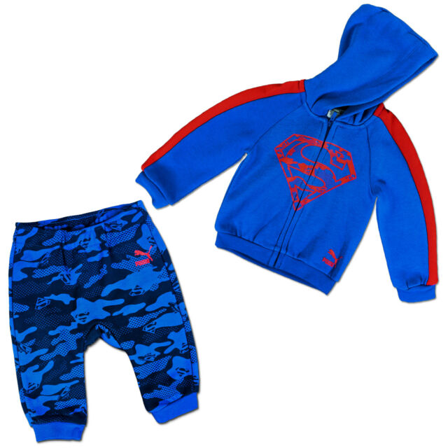 fb074f8fd PUMA Boys Baby Superman Set First Suit Hooded Jacket Trousers Blue ...